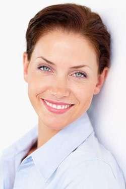 Pretty woman smiling into the camera
