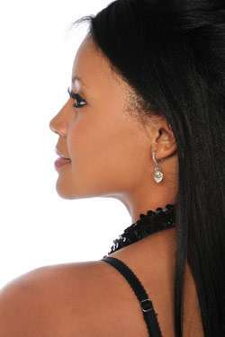 Side view of pretty woman